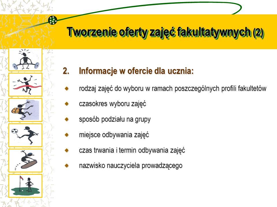Tworzenie oferty zajęć fakultatywnych (2) 2.Informacje w ofercie dla ucznia: rodzaj zajęć do wyboru w ramach poszczególnych profili fakultetów czasokr