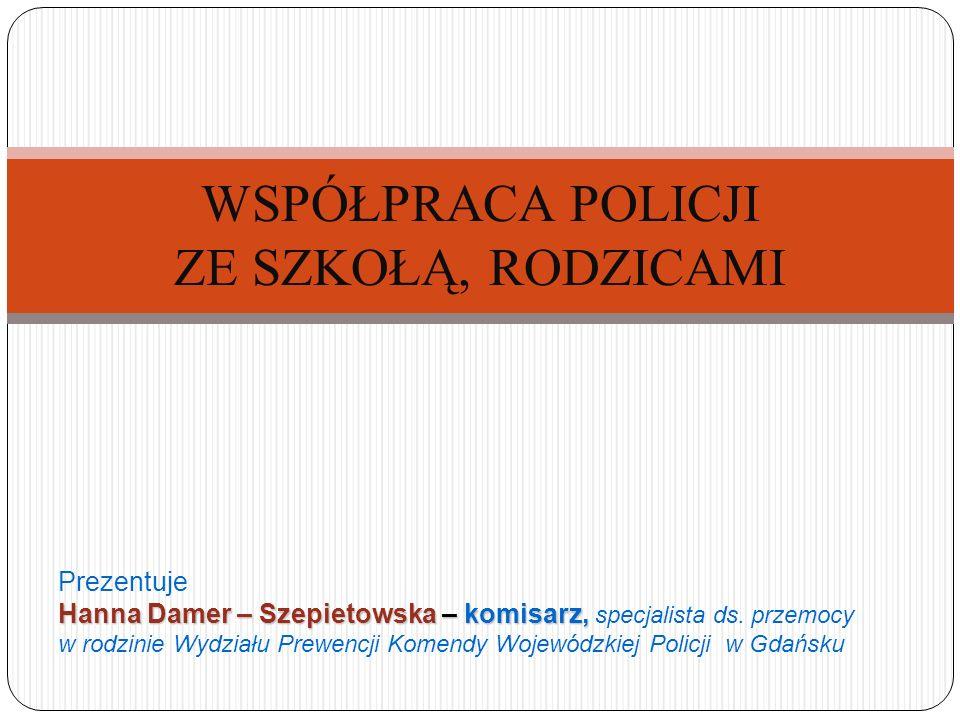 WSPÓŁPRACA POLICJI ZE SZKOŁĄ, RODZICAMI Hanna Damer – Szepietowska – komisarz, Prezentuje Hanna Damer – Szepietowska – komisarz, specjalista ds. przem