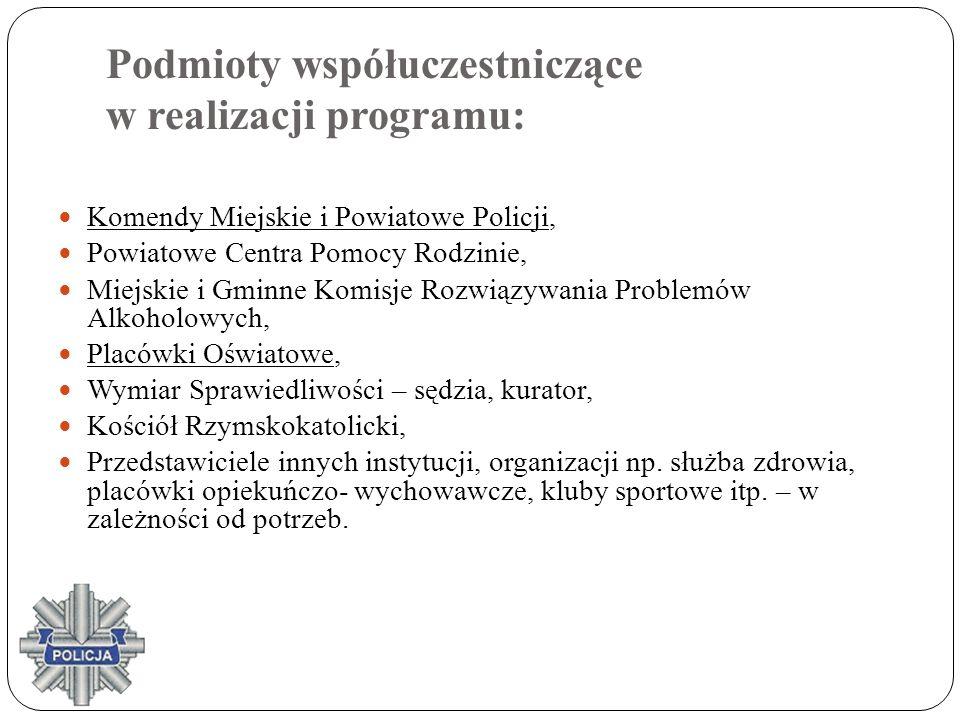 Podmioty współuczestniczące w realizacji programu: Komendy Miejskie i Powiatowe Policji, Powiatowe Centra Pomocy Rodzinie, Miejskie i Gminne Komisje R
