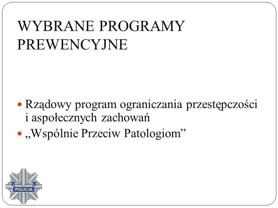 WYBRANE PROGRAMY PREWENCYJNE Rządowy program ograniczania przestępczości i aspołecznych zachowań Wspólnie Przeciw Patologiom