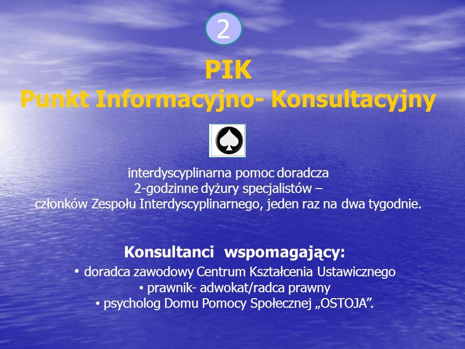 2 PIK Punkt Informacyjno- Konsultacyjny interdyscyplinarna pomoc doradcza 2-godzinne dyżury specjalistów – członków Zespołu Interdyscyplinarnego, jeden raz na dwa tygodnie.