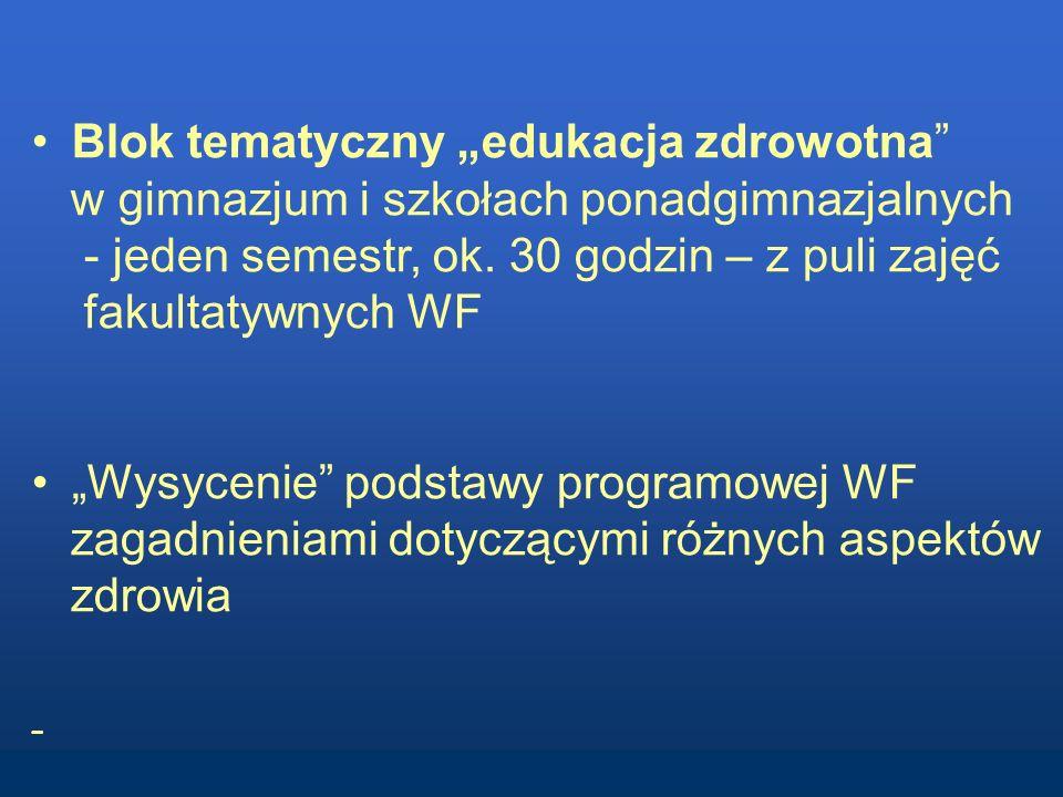 Blok tematyczny edukacja zdrowotna w gimnazjum i szkołach ponadgimnazjalnych - jeden semestr, ok. 30 godzin – z puli zajęć fakultatywnych WF Wysycenie