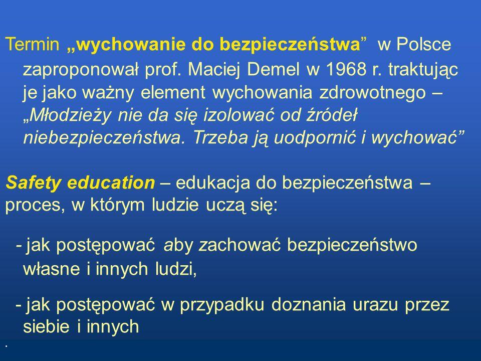 Termin wychowanie do bezpieczeństwa w Polsce zaproponował prof. Maciej Demel w 1968 r. traktując je jako ważny element wychowania zdrowotnego –Młodzie