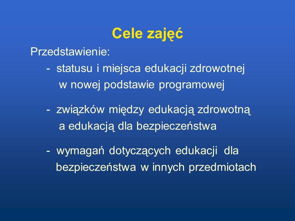 Cele zajęć Przedstawienie: - statusu i miejsca edukacji zdrowotnej w nowej podstawie programowej - związków między edukacją zdrowotną a edukacją dla b