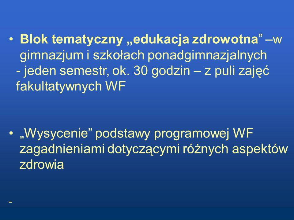 Blok tematyczny edukacja zdrowotna –w gimnazjum i szkołach ponadgimnazjalnych - jeden semestr, ok. 30 godzin – z puli zajęć fakultatywnych WF Wysyceni
