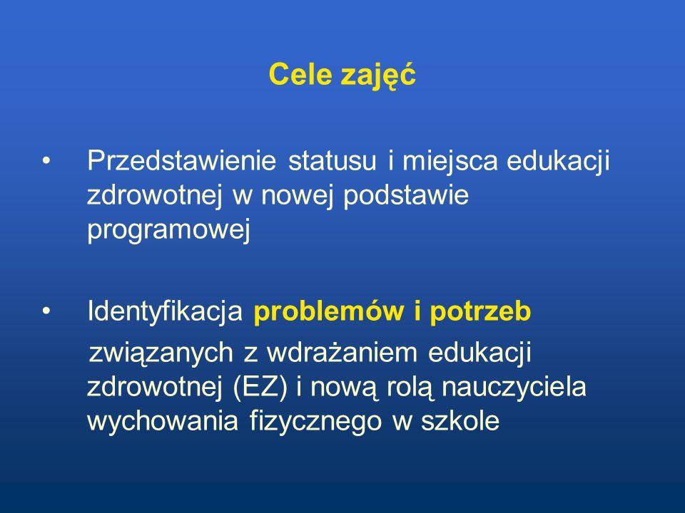 Cele zajęć Przedstawienie statusu i miejsca edukacji zdrowotnej w nowej podstawie programowej Identyfikacja problemów i potrzeb związanych z wdrażanie