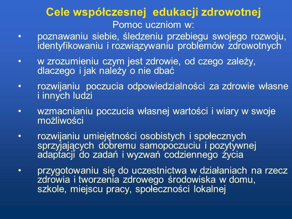 Blok tematyczny edukacja zdrowotna –w gimnazjum i szkołach ponadgimnazjalnych - jeden semestr, ok.