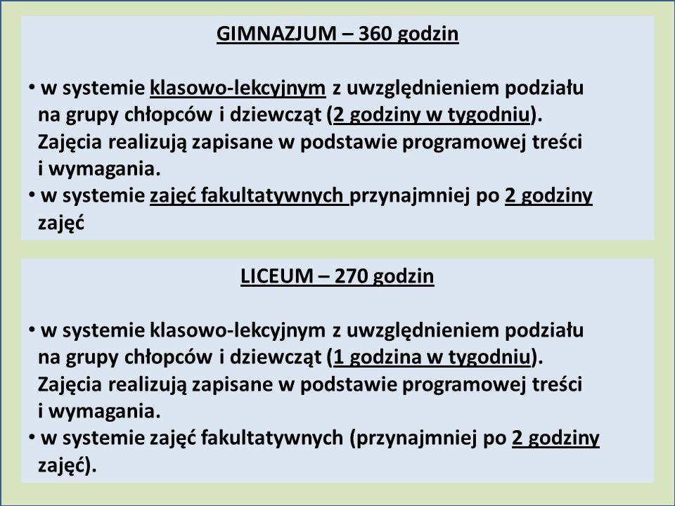 GIMNAZJUM – 360 godzin w systemie klasowo-lekcyjnym z uwzględnieniem podziału na grupy chłopców i dziewcząt (2 godziny w tygodniu). Zajęcia realizują