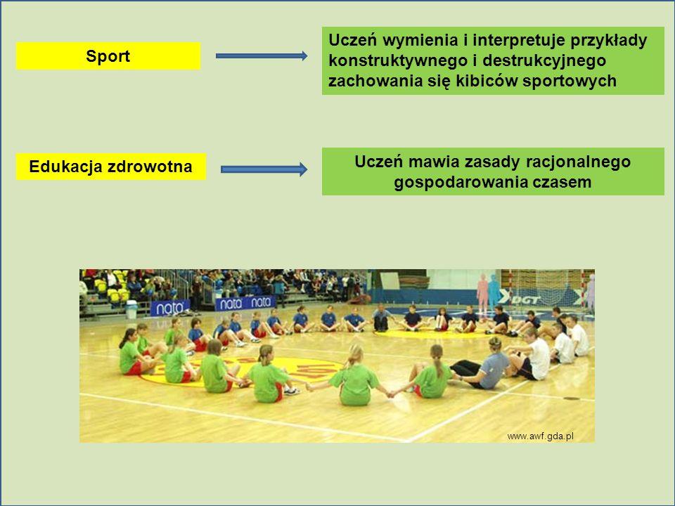Sport Uczeń wymienia i interpretuje przykłady konstruktywnego i destrukcyjnego zachowania się kibiców sportowych Edukacja zdrowotna Uczeń mawia zasady