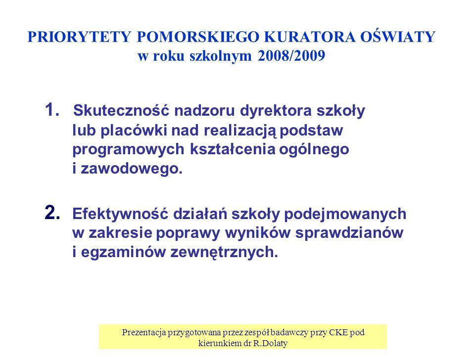 Prezentacja przygotowana przez zespół badawczy przy CKE pod kierunkiem dr R.Dolaty PRIORYTETY POMORSKIEGO KURATORA OŚWIATY w roku szkolnym 2008/2009 1.
