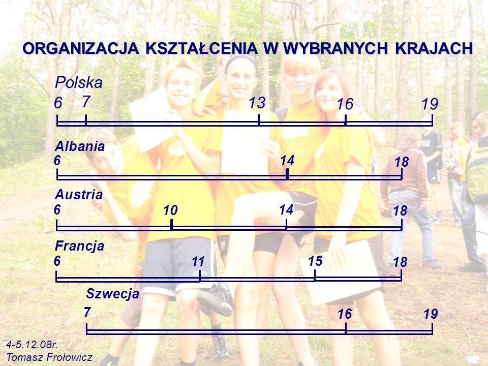 Albania 614 18 Szwecja 7 16 19 Polska 6 7 13 1619 Austria 614 18 10 Francja 615 18 11 ORGANIZACJA KSZTAŁCENIA W WYBRANYCH KRAJACH 4-5.12.08r.