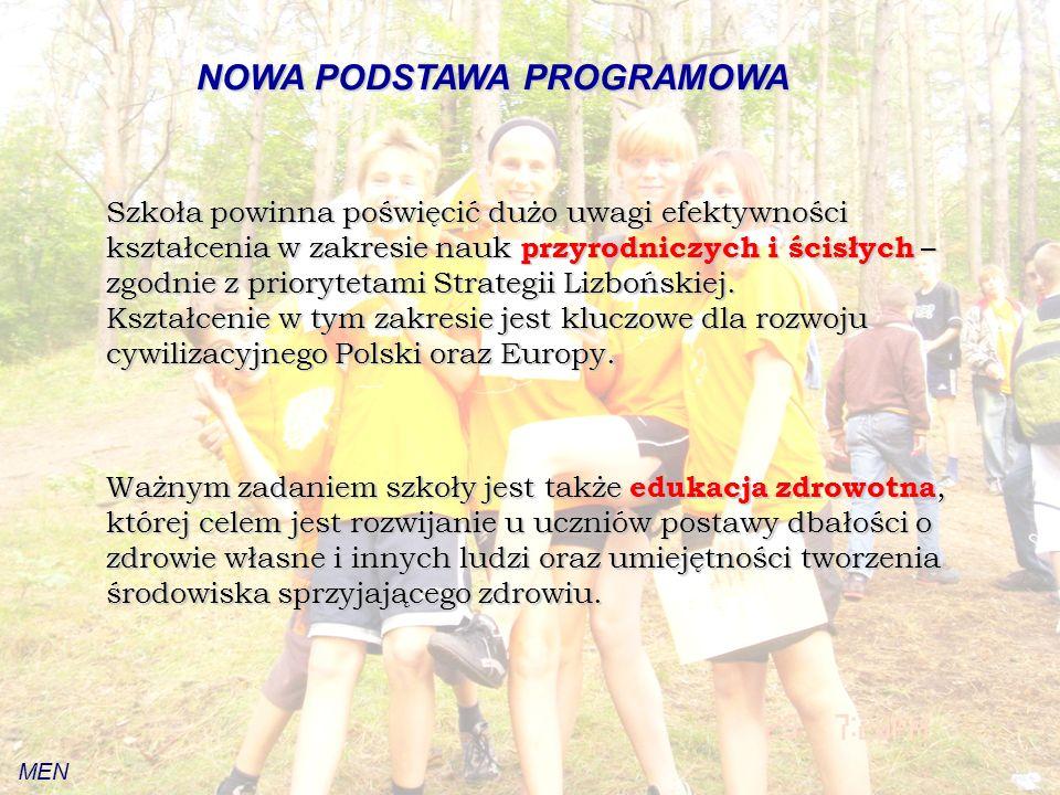 NOWA PODSTAWA PROGRAMOWA Szkoła powinna poświęcić dużo uwagi efektywności kształcenia w zakresie nauk przyrodniczych i ścisłych – zgodnie z priorytetami Strategii Lizbońskiej.