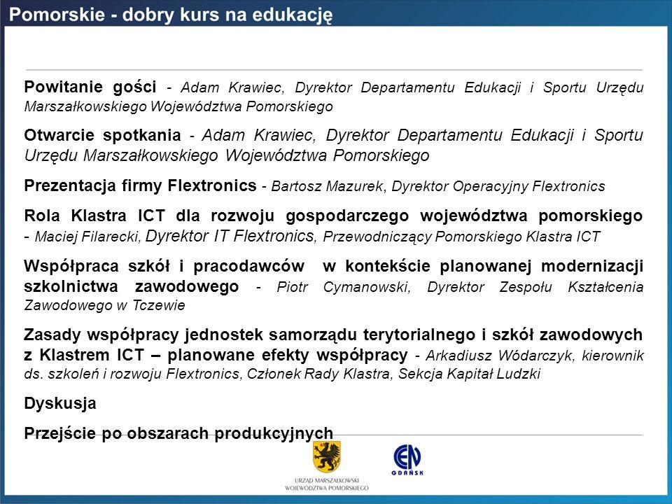 PROGRAM SPOTKANIA Powitanie gości - Adam Krawiec, Dyrektor Departamentu Edukacji i Sportu Urzędu Marszałkowskiego Województwa Pomorskiego Otwarcie spo