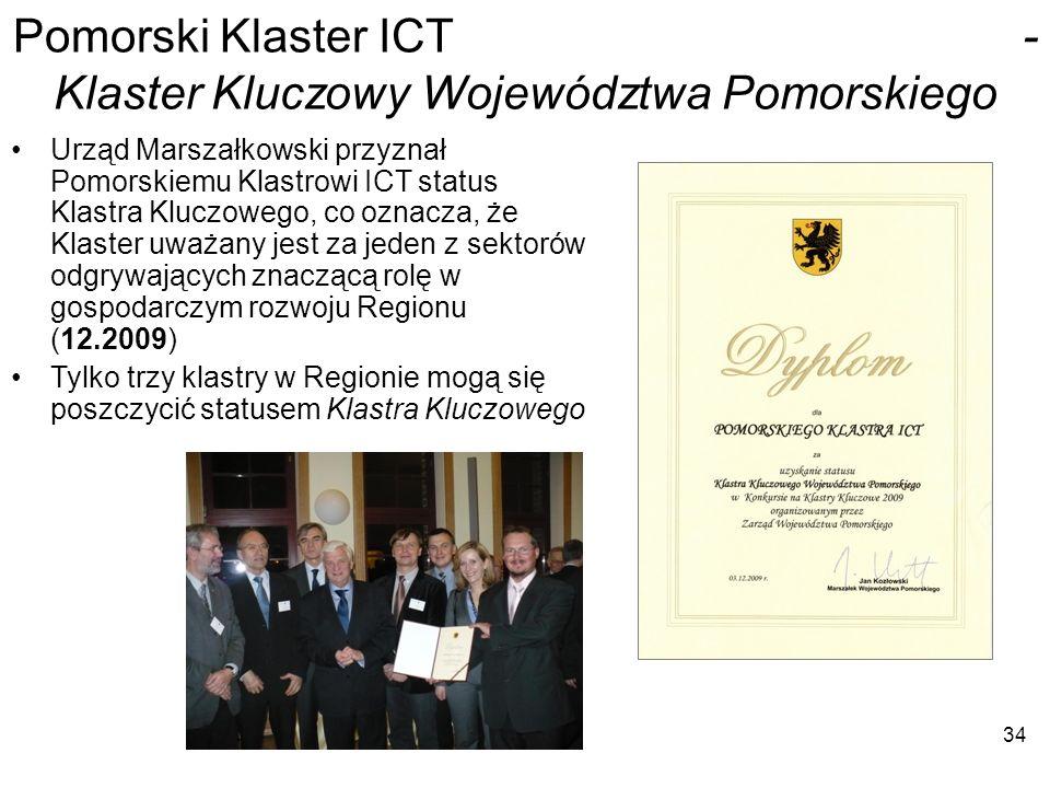 34 Pomorski Klaster ICT - Klaster Kluczowy Województwa Pomorskiego Urząd Marszałkowski przyznał Pomorskiemu Klastrowi ICT status Klastra Kluczowego, c