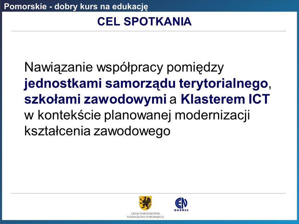 CEL SPOTKANIA Nawiązanie współpracy pomiędzy jednostkami samorządu terytorialnego, szkołami zawodowymi a Klasterem ICT w kontekście planowanej moderni