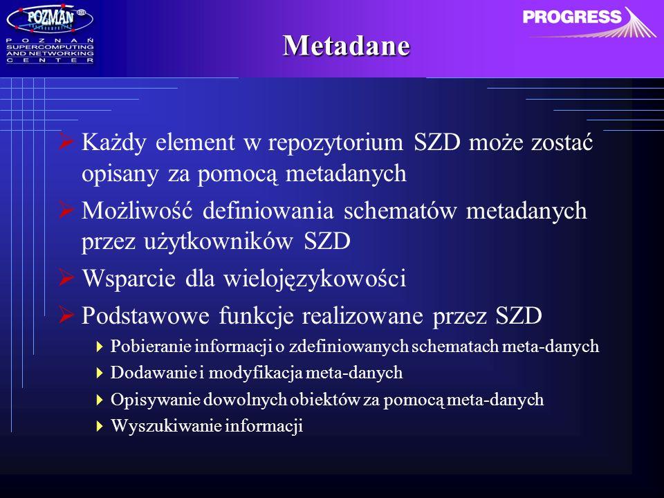 Metadane Każdy element w repozytorium SZD może zostać opisany za pomocą metadanych Możliwość definiowania schematów metadanych przez użytkowników SZD Wsparcie dla wielojęzykowości Podstawowe funkcje realizowane przez SZD Pobieranie informacji o zdefiniowanych schematach meta-danych Dodawanie i modyfikacja meta-danych Opisywanie dowolnych obiektów za pomocą meta-danych Wyszukiwanie informacji