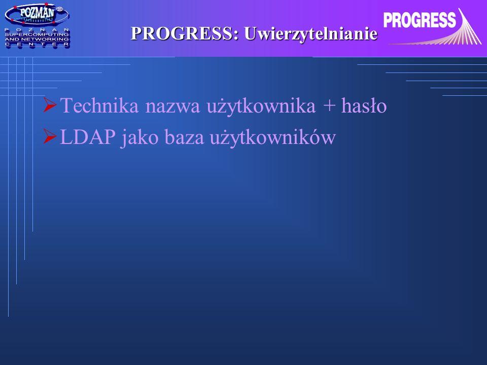 PROGRESS: Uwierzytelnianie Technika nazwa użytkownika + hasło LDAP jako baza użytkowników