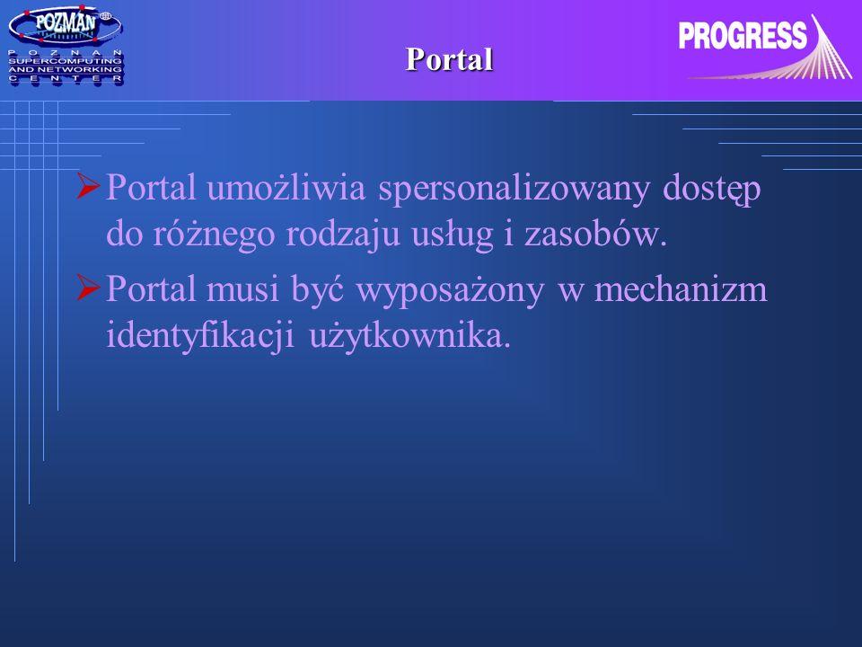 Portal Portal umożliwia spersonalizowany dostęp do różnego rodzaju usług i zasobów. Portal musi być wyposażony w mechanizm identyfikacji użytkownika.