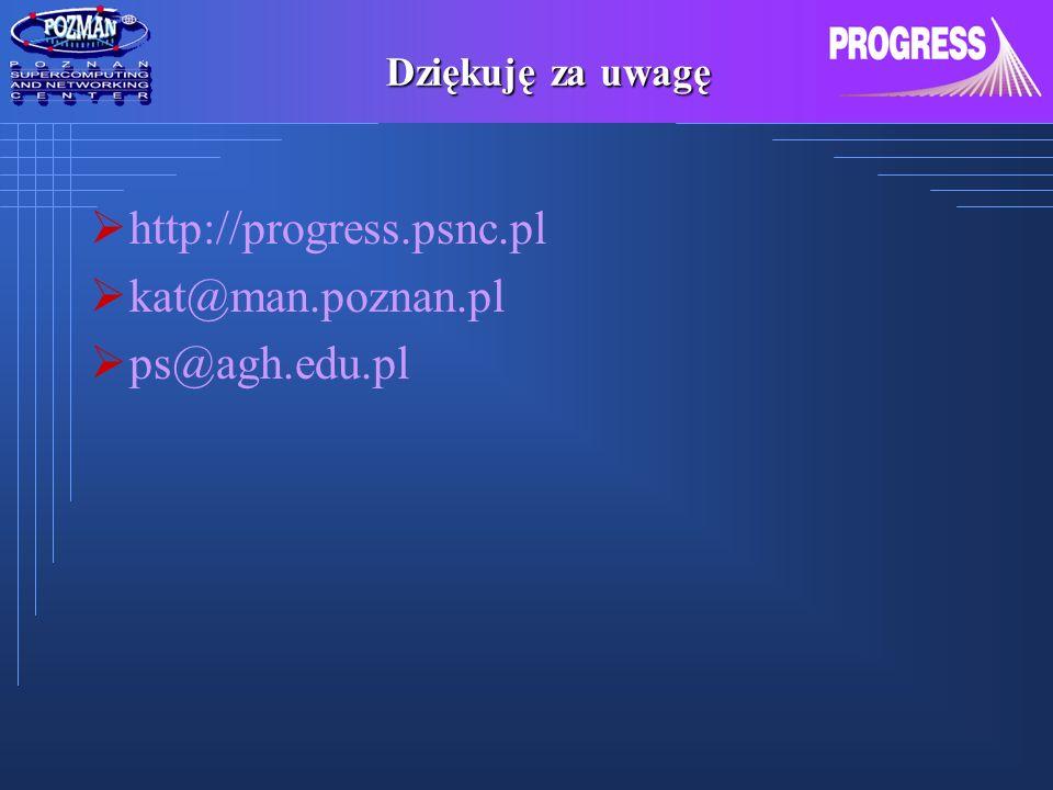 Dziękuję za uwagę http://progress.psnc.pl kat@man.poznan.pl ps@agh.edu.pl