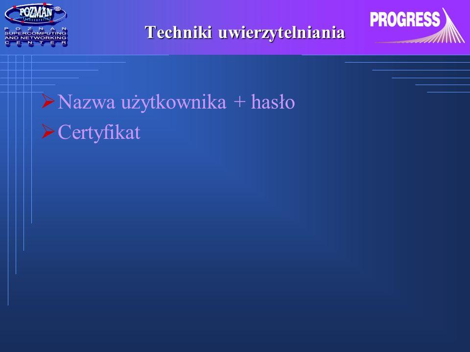 Techniki uwierzytelniania Nazwa użytkownika + hasło Certyfikat