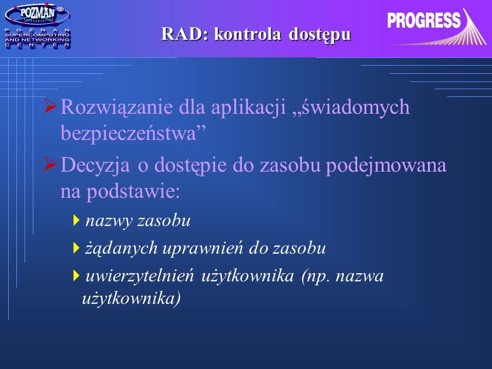 PROGRESS: Uwierzytelnianie, autoryzacja dostępu i SSO Portal Dostawca usług gridowych Serwer identyfikacji RAD Logowanie Uwierzytelnianie Żądanie Wywołanie metody Walidacja tokena Autoryzacja dostępu do zasobu