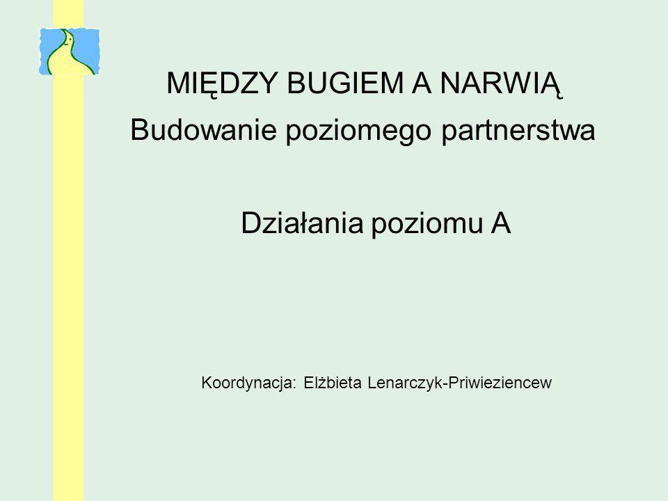 MIĘDZY BUGIEM A NARWIĄ Budowanie poziomego partnerstwa Działania poziomu A Koordynacja: Elżbieta Lenarczyk-Priwieziencew