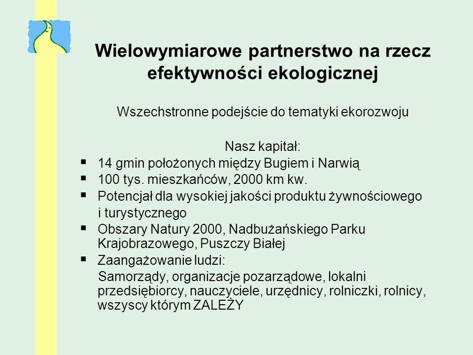 Wielowymiarowe partnerstwo na rzecz efektywności ekologicznej Wszechstronne podejście do tematyki ekorozwoju Nasz kapitał: 14 gmin położonych między B