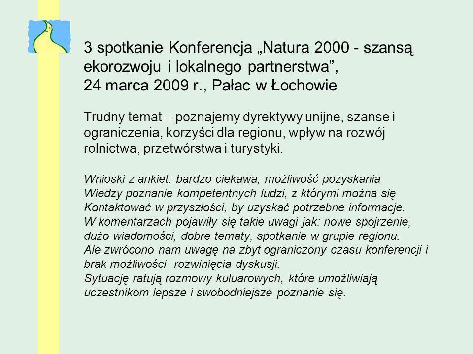 3 spotkanie Konferencja Natura 2000 - szansą ekorozwoju i lokalnego partnerstwa, 24 marca 2009 r., Pałac w Łochowie Trudny temat – poznajemy dyrektywy