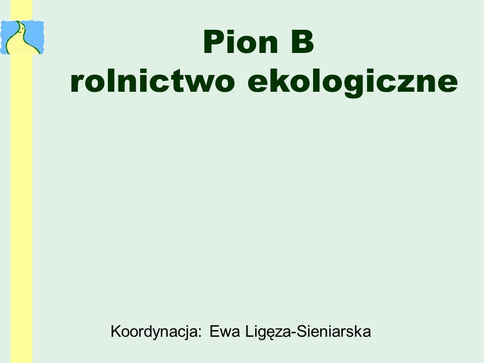 Koordynacja: Ewa Ligęza-Sieniarska Pion B rolnictwo ekologiczne