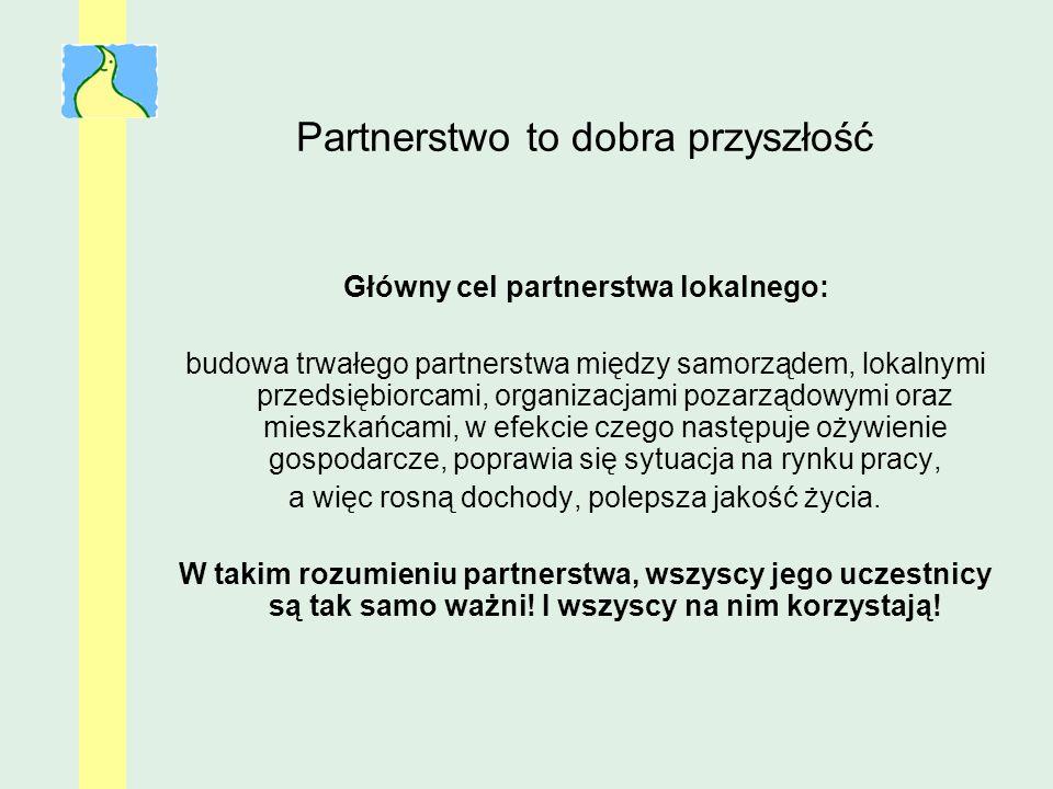 Partnerstwo to dobra przyszłość Główny cel partnerstwa lokalnego: budowa trwałego partnerstwa między samorządem, lokalnymi przedsiębiorcami, organizac