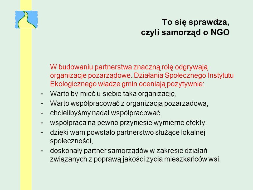 To się sprawdza, czyli samorząd o NGO W budowaniu partnerstwa znaczną rolę odgrywają organizacje pozarządowe. Działania Społecznego Instytutu Ekologic