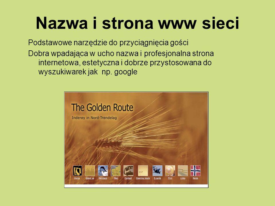 Nazwa i strona www sieci Podstawowe narzędzie do przyciągnięcia gości Dobra wpadająca w ucho nazwa i profesjonalna strona internetowa, estetyczna i dobrze przystosowana do wyszukiwarek jak np.