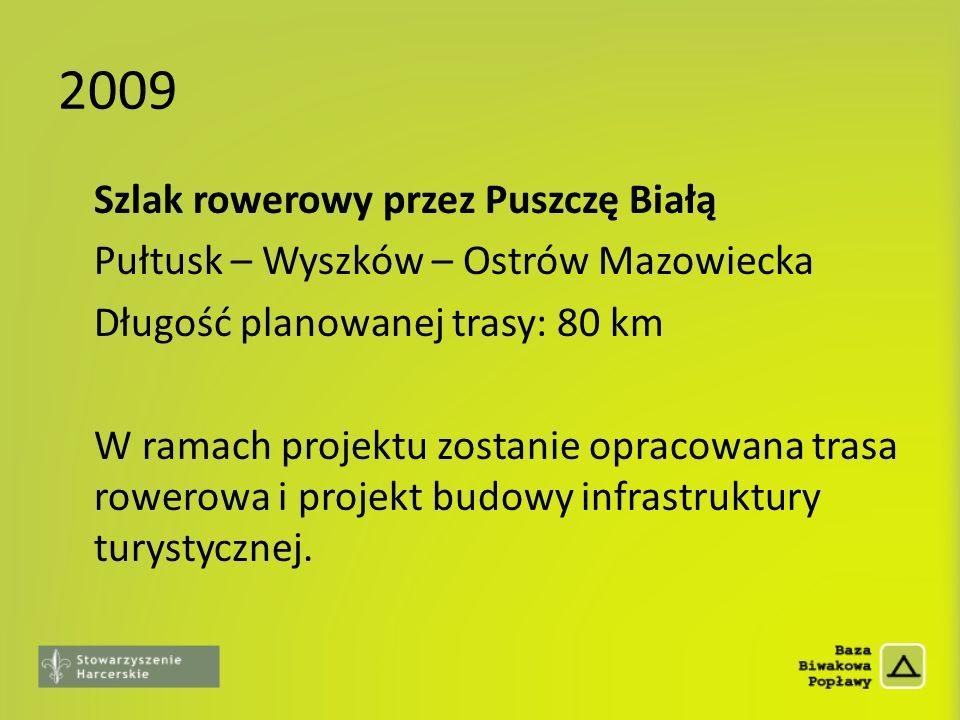 2009 Szlak rowerowy przez Puszczę Białą Pułtusk – Wyszków – Ostrów Mazowiecka Długość planowanej trasy: 80 km W ramach projektu zostanie opracowana tr