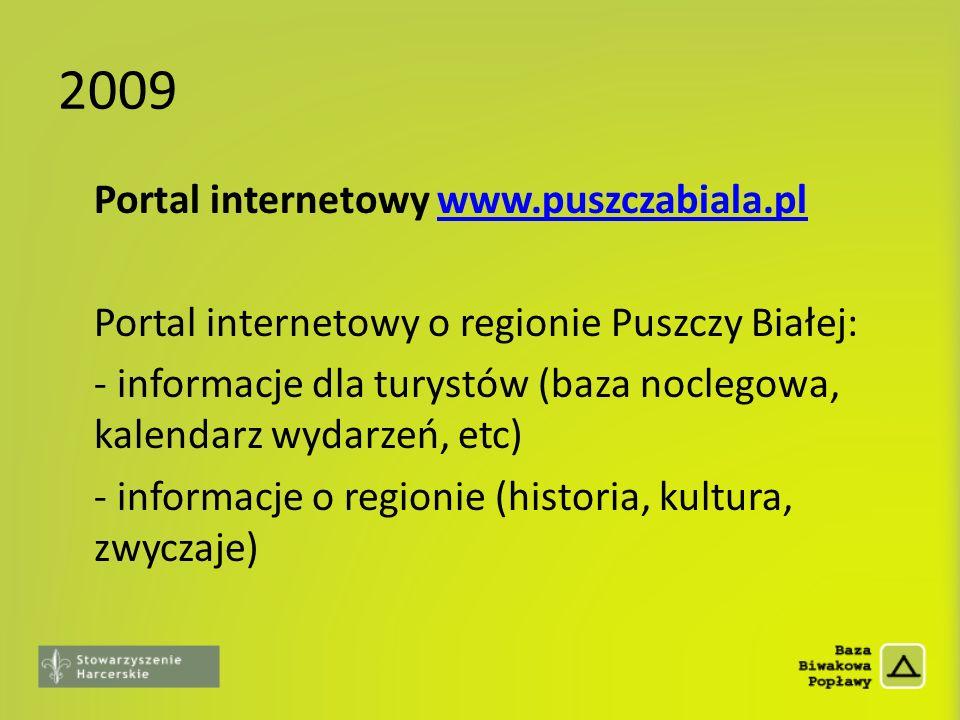 2009 Portal internetowy www.puszczabiala.plwww.puszczabiala.pl Portal internetowy o regionie Puszczy Białej: - informacje dla turystów (baza noclegowa