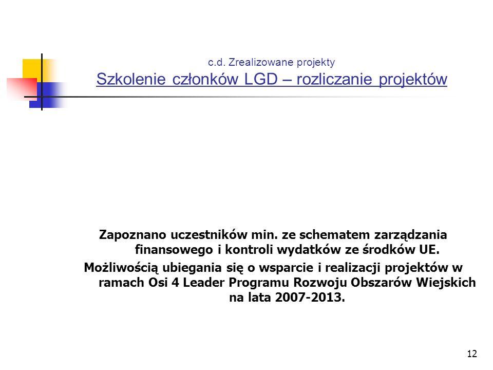 12 c.d. Zrealizowane projekty Szkolenie członków LGD – rozliczanie projektów Zapoznano uczestników min. ze schematem zarządzania finansowego i kontrol