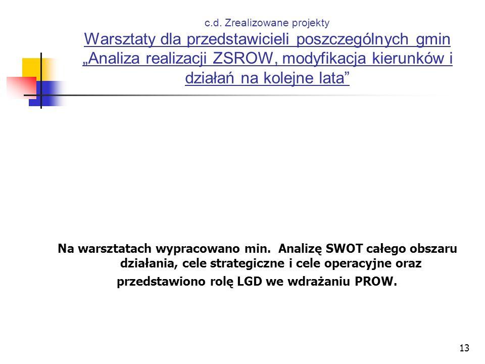 13 c.d. Zrealizowane projekty Warsztaty dla przedstawicieli poszczególnych gmin Analiza realizacji ZSROW, modyfikacja kierunków i działań na kolejne l