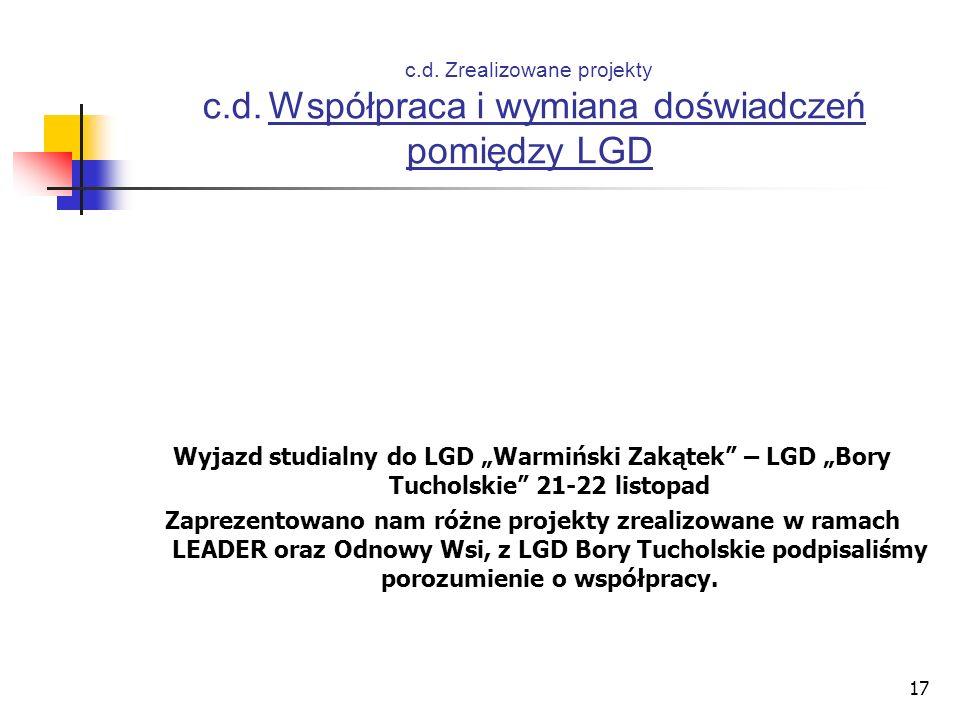 17 c.d. Zrealizowane projekty c.d. Współpraca i wymiana doświadczeń pomiędzy LGD Wyjazd studialny do LGD Warmiński Zakątek – LGD Bory Tucholskie 21-22