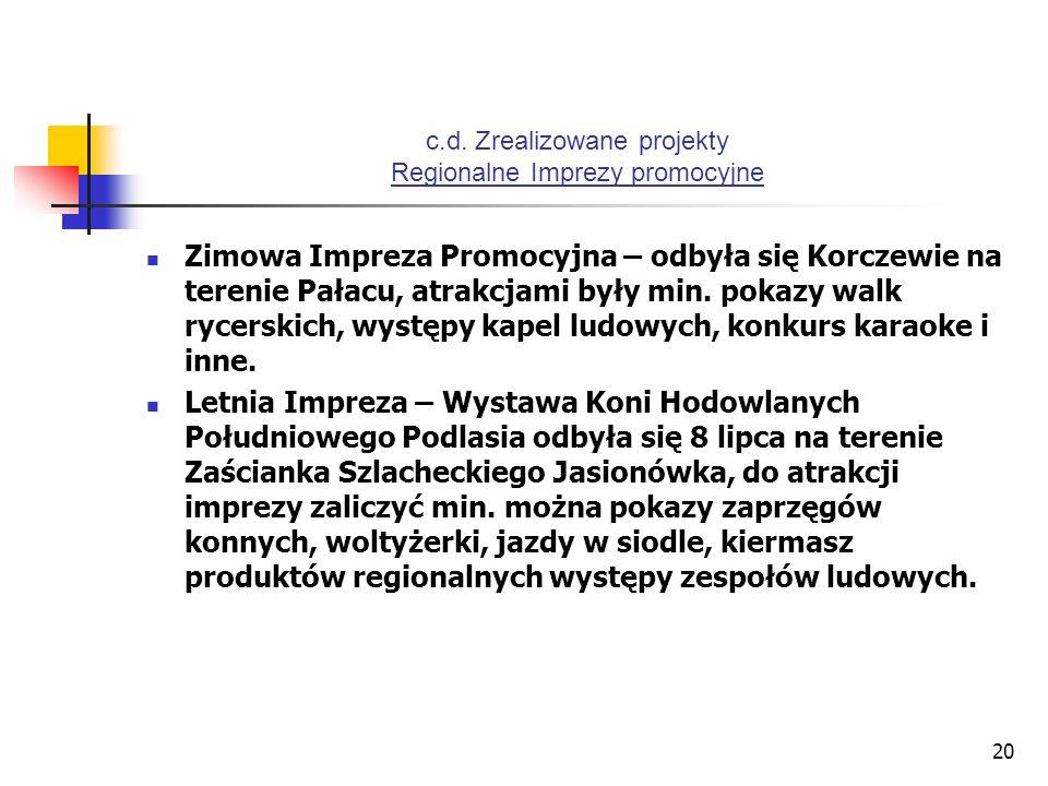 20 c.d. Zrealizowane projekty Regionalne Imprezy promocyjne Zimowa Impreza Promocyjna – odbyła się Korczewie na terenie Pałacu, atrakcjami były min. p