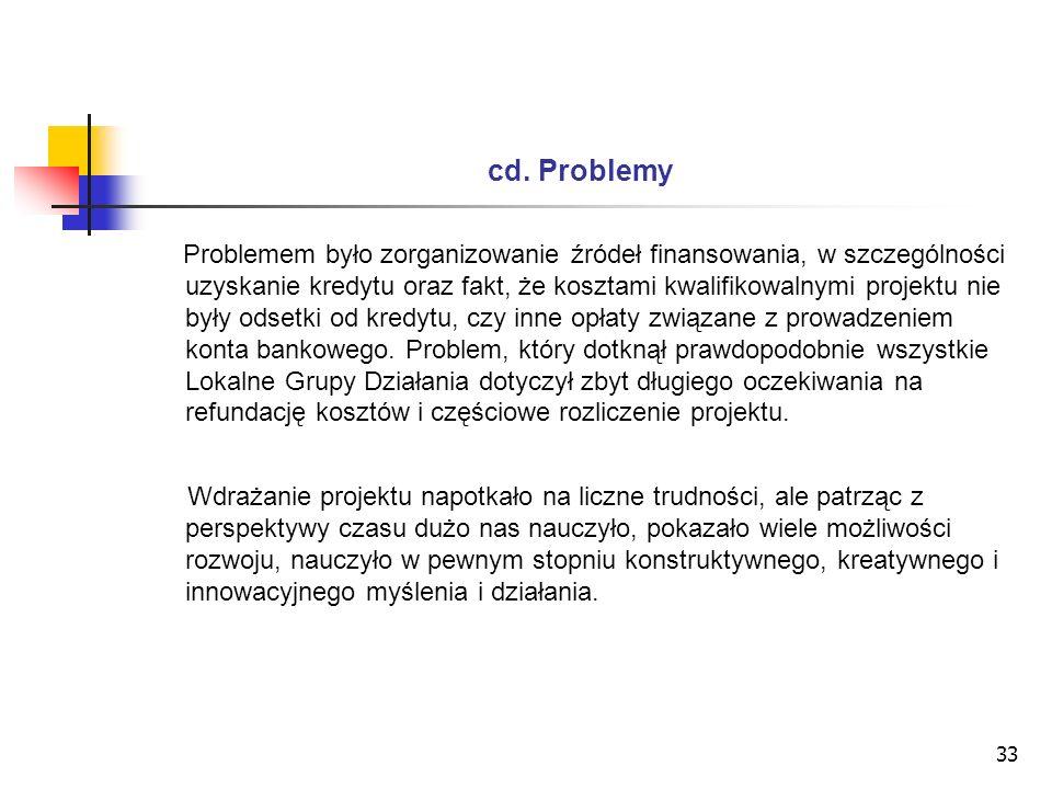 33 cd. Problemy Problemem było zorganizowanie źródeł finansowania, w szczególności uzyskanie kredytu oraz fakt, że kosztami kwalifikowalnymi projektu