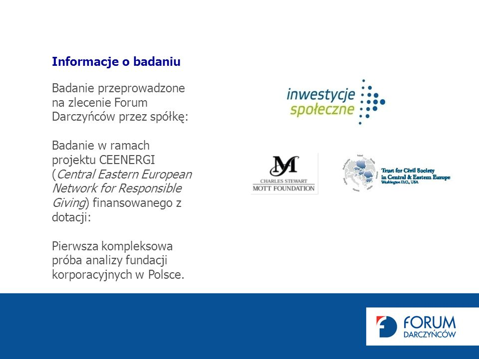 Badanie przeprowadzone na zlecenie Forum Darczyńców przez spółkę: Badanie w ramach projektu CEENERGI (Central Eastern European Network for Responsible