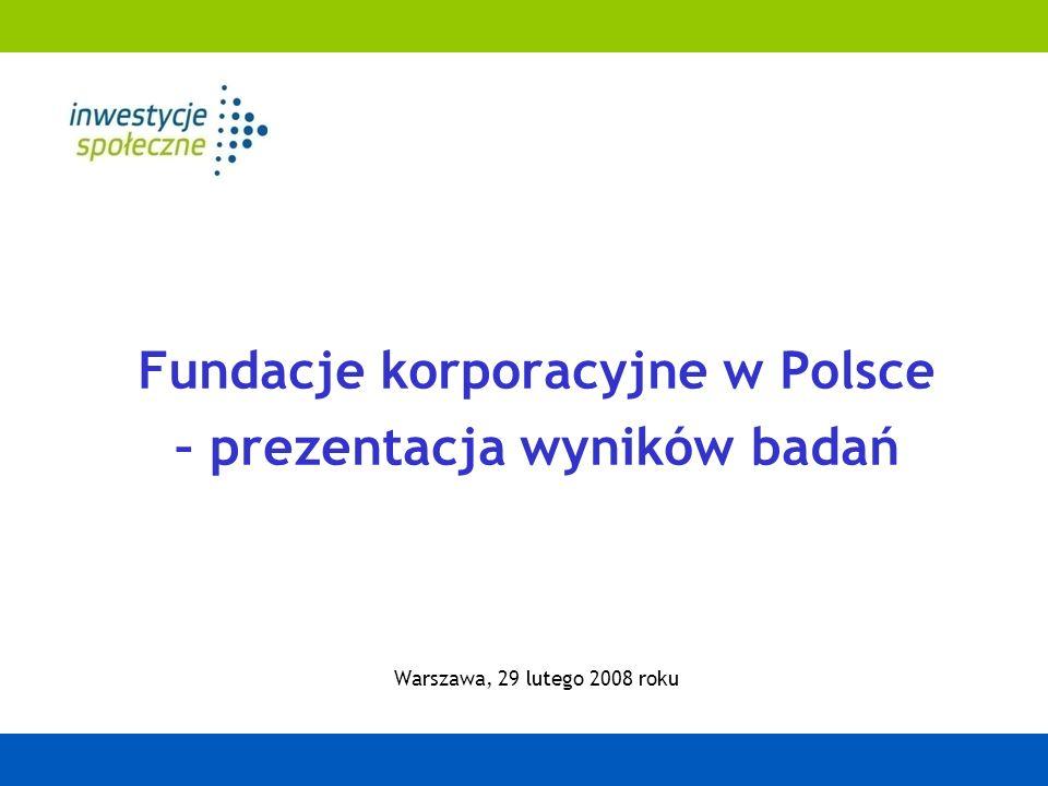 Fundacje korporacyjne w Polsce – prezentacja wyników badań Warszawa, 29 lutego 2008 roku