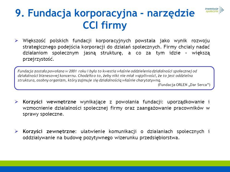 Większość polskich fundacji korporacyjnych powstała jako wynik rozwoju strategicznego podejścia korporacji do działań społecznych. Firmy chciały nadać
