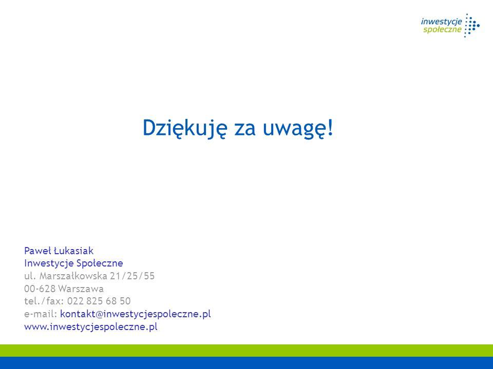 Dziękuję za uwagę! Paweł Łukasiak Inwestycje Społeczne ul. Marszałkowska 21/25/55 00-628 Warszawa tel./fax: 022 825 68 50 e-mail: kontakt@inwestycjesp