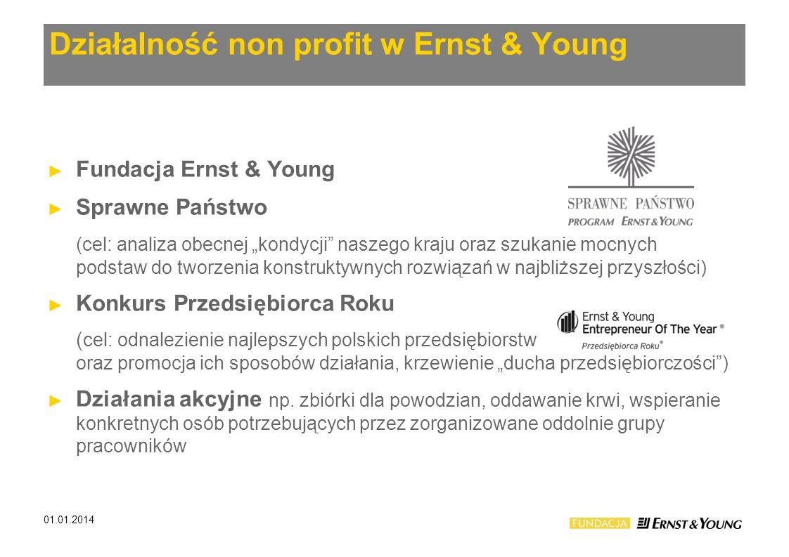 Działalność non profit w Ernst & Young Fundacja Ernst & Young Sprawne Państwo (cel: analiza obecnej kondycji naszego kraju oraz szukanie mocnych podst