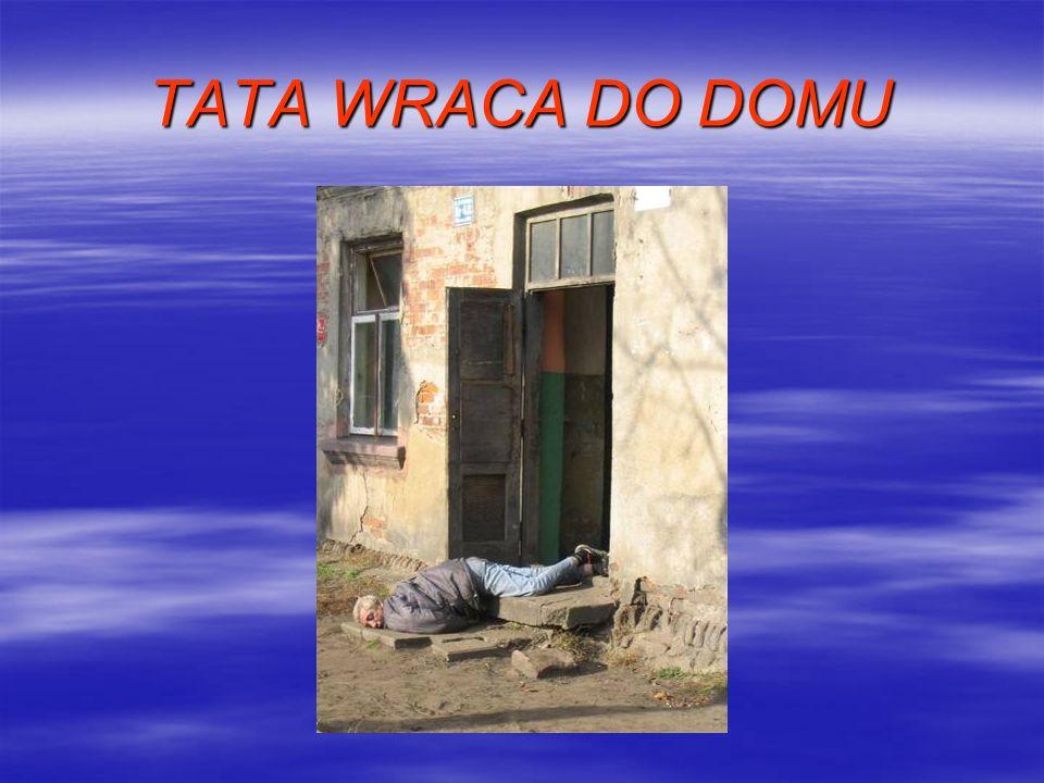 Scenka II Awantura w domu, wrócił pijany ojciec, bije żonę, dzieci płaczą.