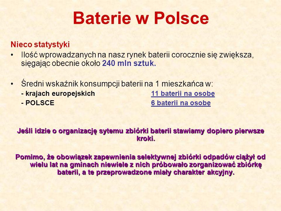 Baterie w Polsce Nieco statystyki Ilość wprowadzanych na nasz rynek baterii corocznie się zwiększa, sięgając obecnie około 240 mln sztuk. Średni wskaź