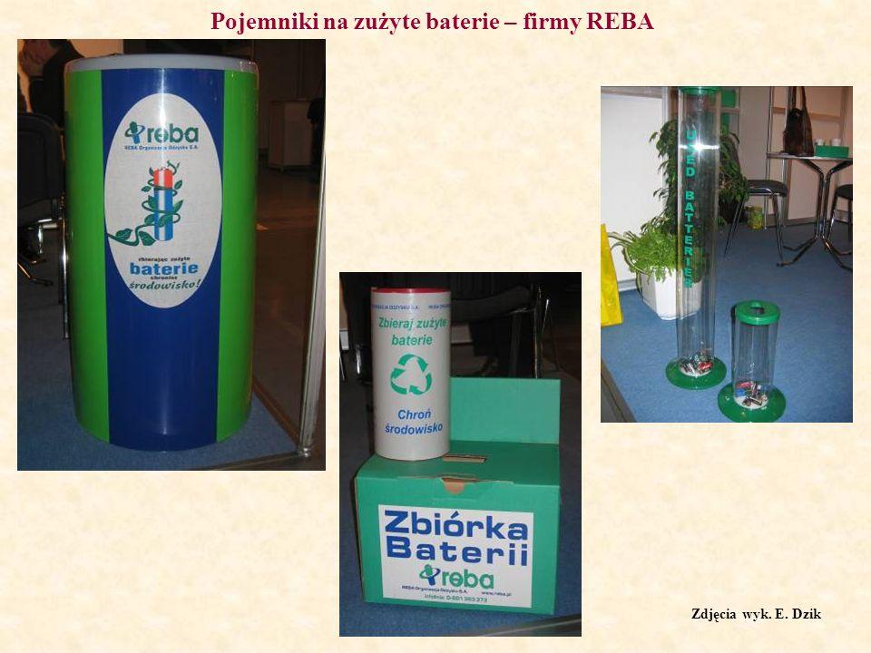 Pojemniki na zużyte baterie – firmy REBA Zdjęcia wyk. E. Dzik