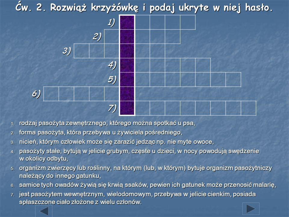 1) 2) 3) 4) 5) 6) 7) Ćw. 2. Rozwiąż krzyżówkę i podaj ukryte w niej hasło. 1. rodzaj pasożyta zewnętrznego, którego można spotkać u psa, 2. forma paso