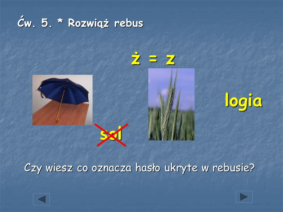 Ćw. 5. * Rozwiąż rebus Czy wiesz co oznacza hasło ukryte w rebusie? sol ż = z logia