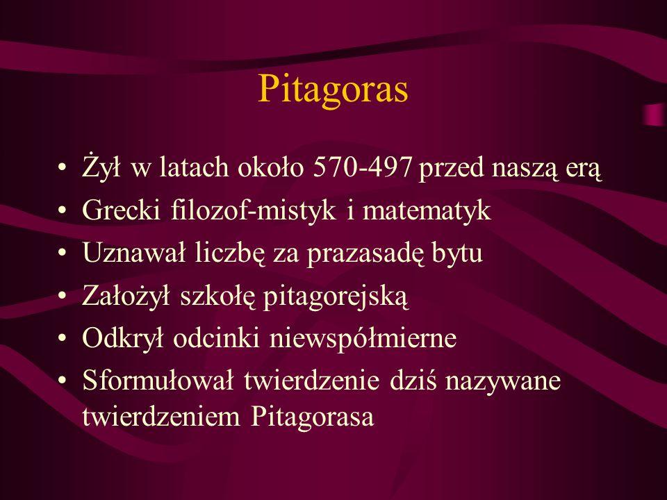 Pitagoras Żył w latach około 570-497 przed naszą erą Grecki filozof-mistyk i matematyk Uznawał liczbę za prazasadę bytu Założył szkołę pitagorejską Od